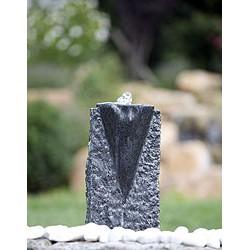 Fontaine 26x15x60 cm en pierres avec réservoir 80x80x31, pompe et LED